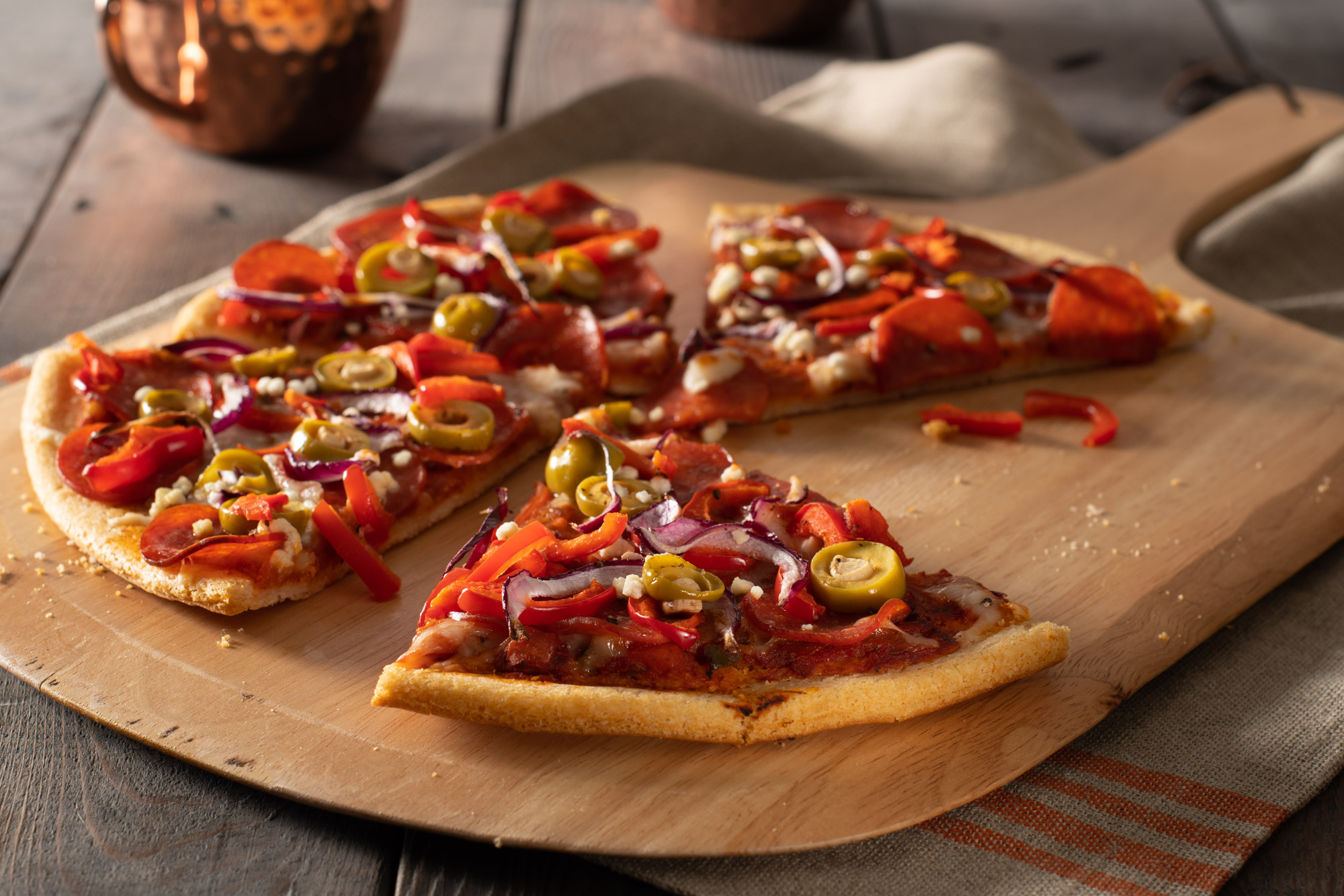 Gluten-Free pizza with pepperoni and peppers