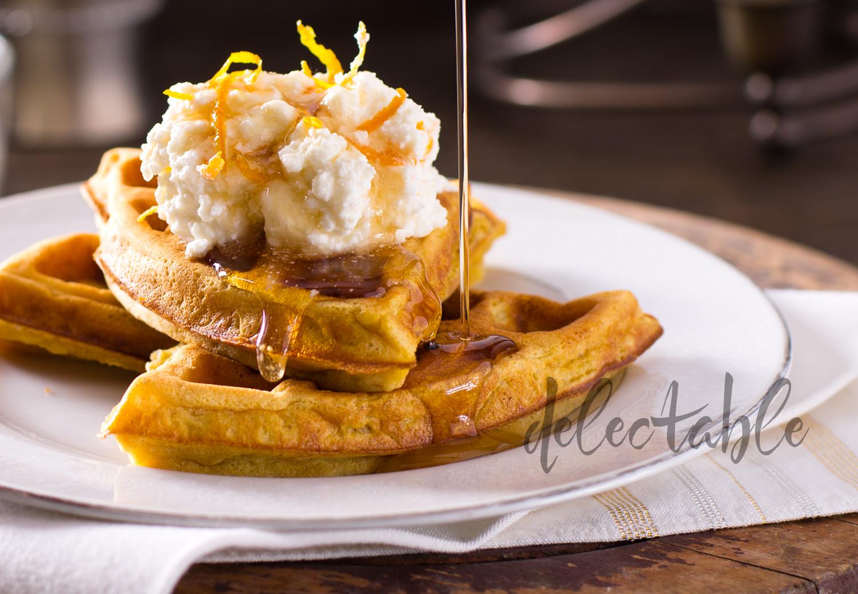 Pumpkin waffles with orange ricotta