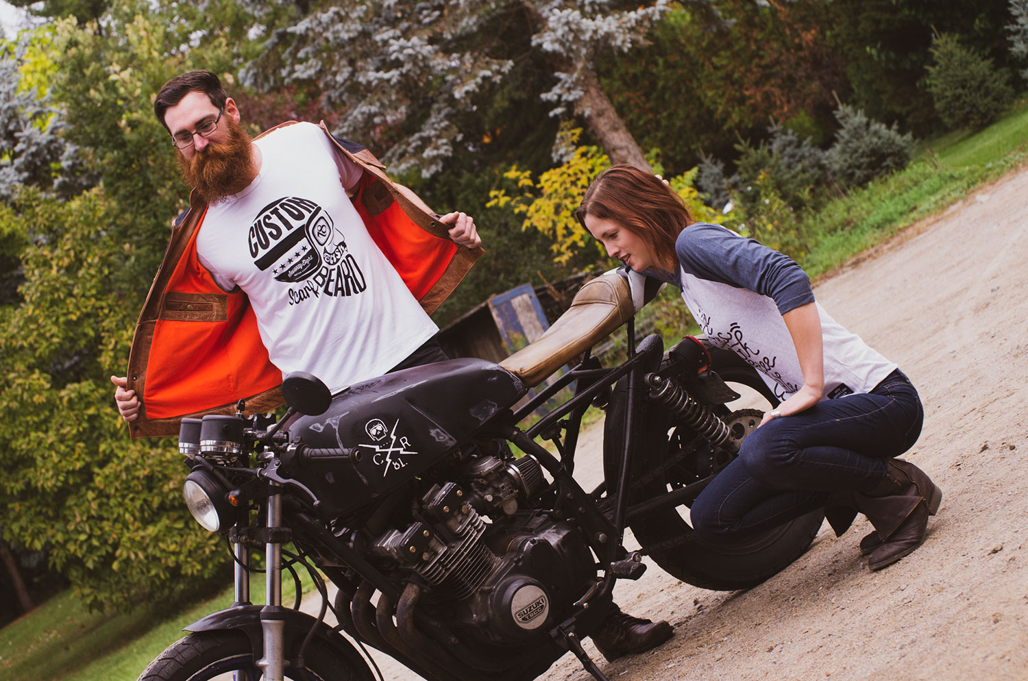 Fashion photography of motorcycle apparel