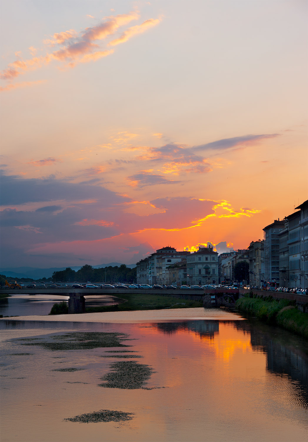 Florence Italy at dusk with Arno river view.