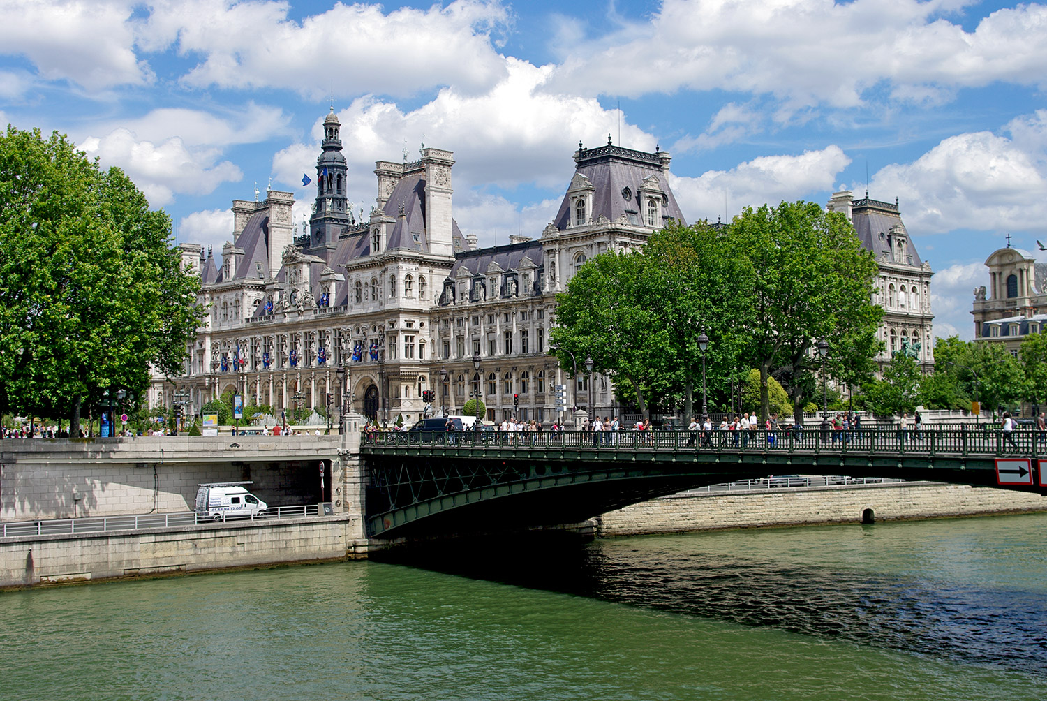 Old famous Paris hotel by the river Seine