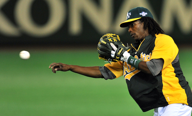 Jemile Weeks came over from the A's as part of the Jim Johnson trade and will attempt to win a job this Spring.