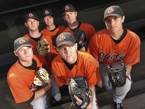"""The Calvary"" (left to right): Troy Patton, Brian Matusz, Chris Tillman, Brad Bergesen, Jake Arrieta, David Hernandez (credit: Baltimore Sun)"