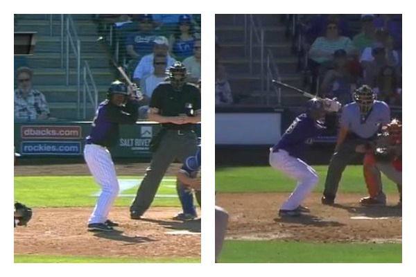 "On the left, Tapia goes into his ""normal"" pre-swing couch. On the right, the Colorado prospect crouches down even lower as is his tendency when faced with a 2-strike count. (Credit: BSN Denver & MLB.com)"