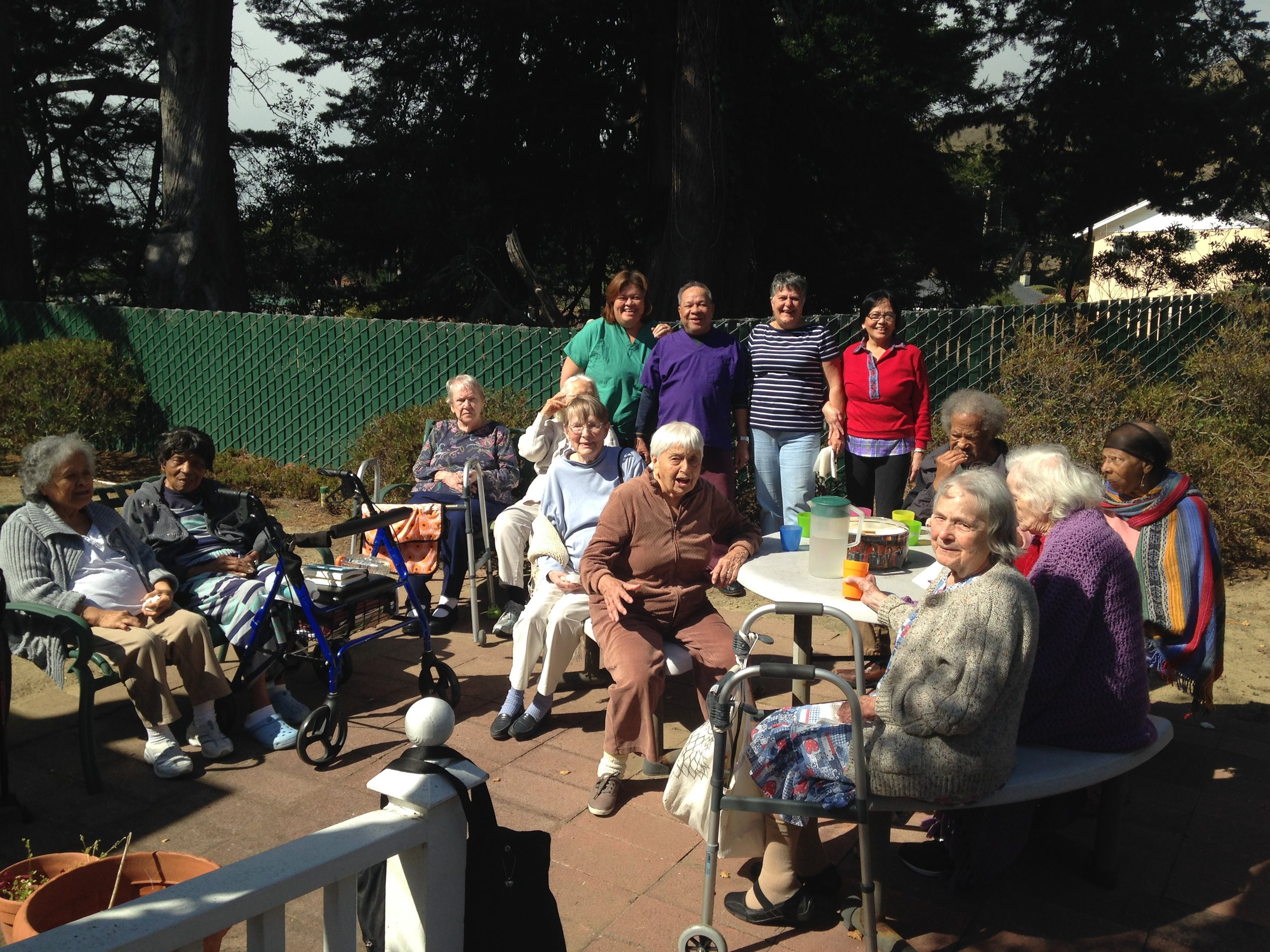Sun valley Chateau Pacifica elderly and senior care back yard picnic and beach day