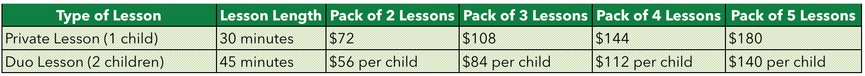 Lesson pricing