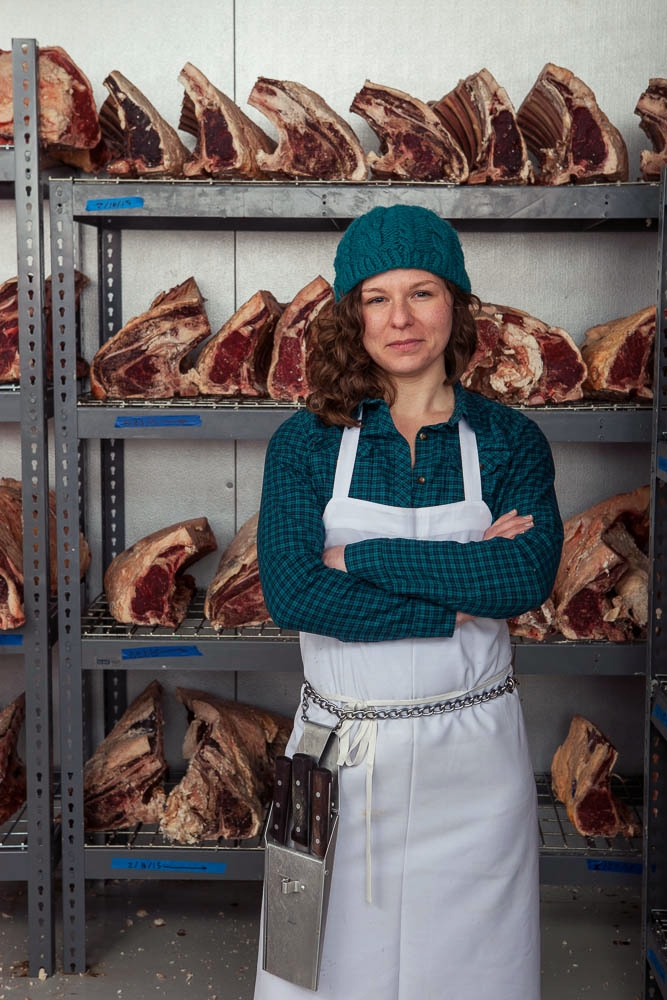 In the beef dry-aging room at the Fleishers Red Hook USDA processing facility (2016)