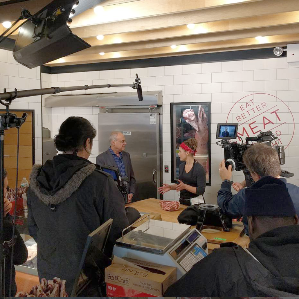 Sam Garwin and Mark Bittman filming for the Signature Kitchen Suite video series.