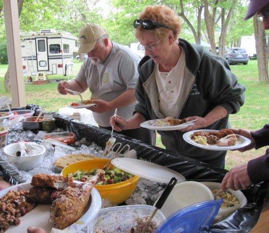 Members at the annual June Picnic at Kettle Falls