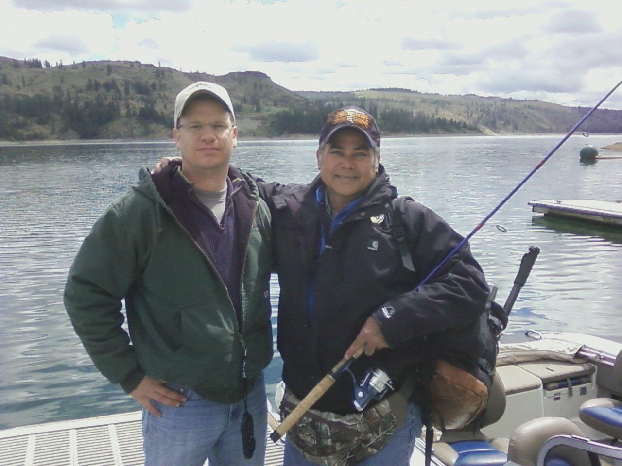 KHQ Meteorologist Dave Law and Spokane Walleye Club Member Greg at Porcupine Bay on Lake Roosevelt.