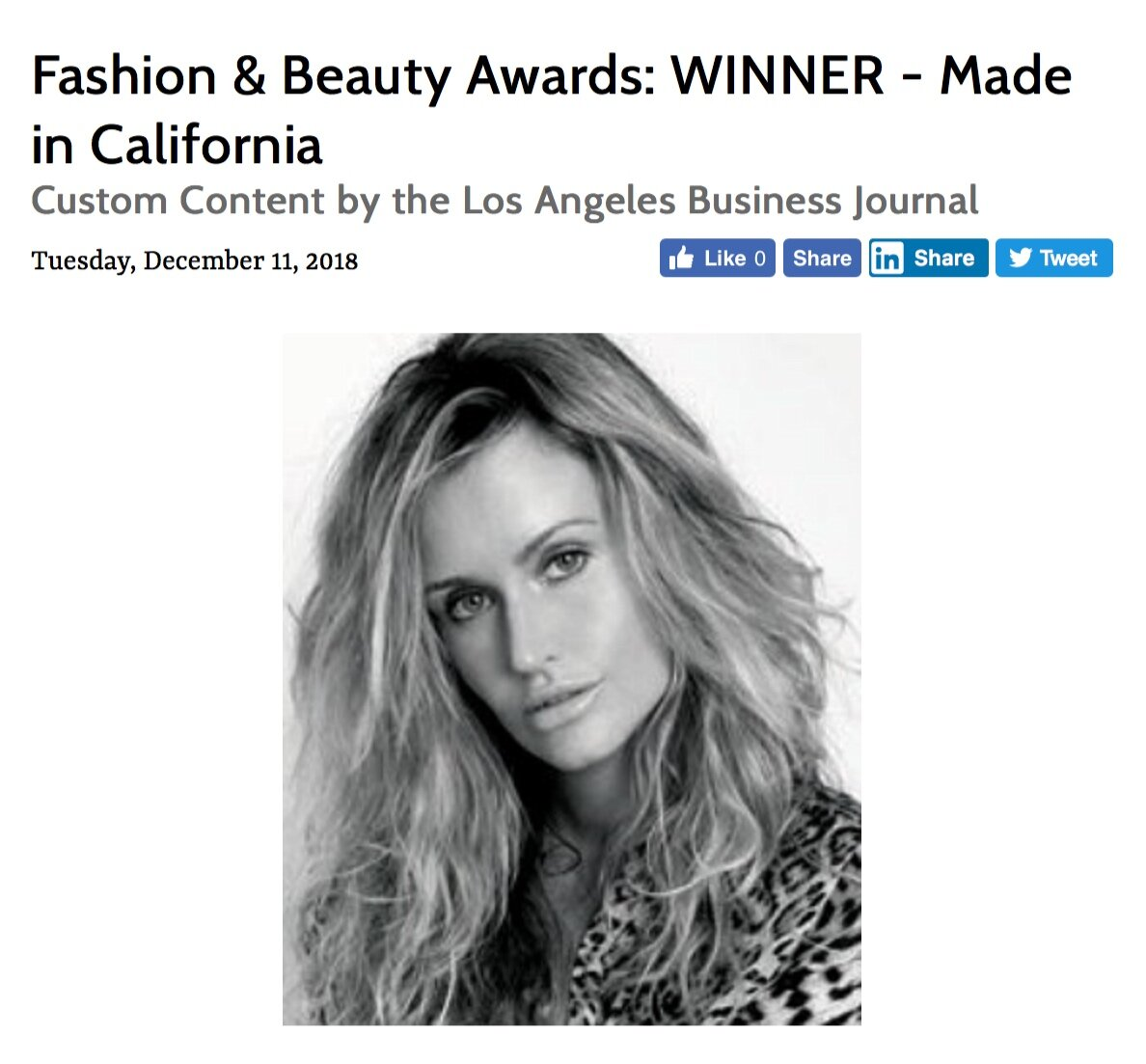 THE LOS ANGELES BUSINESS JOURNAL AWARDED SAGE LAROCK THE   'BEST MADE IN CALIFORNIA BRAND'  , NOMINATED BY  PETA