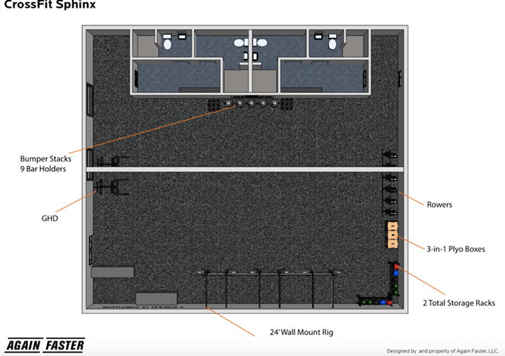 The design of CrossFit Sphinx, a Florida-based CrossFit gym opening in a few months. Notice how much of it is just open space.