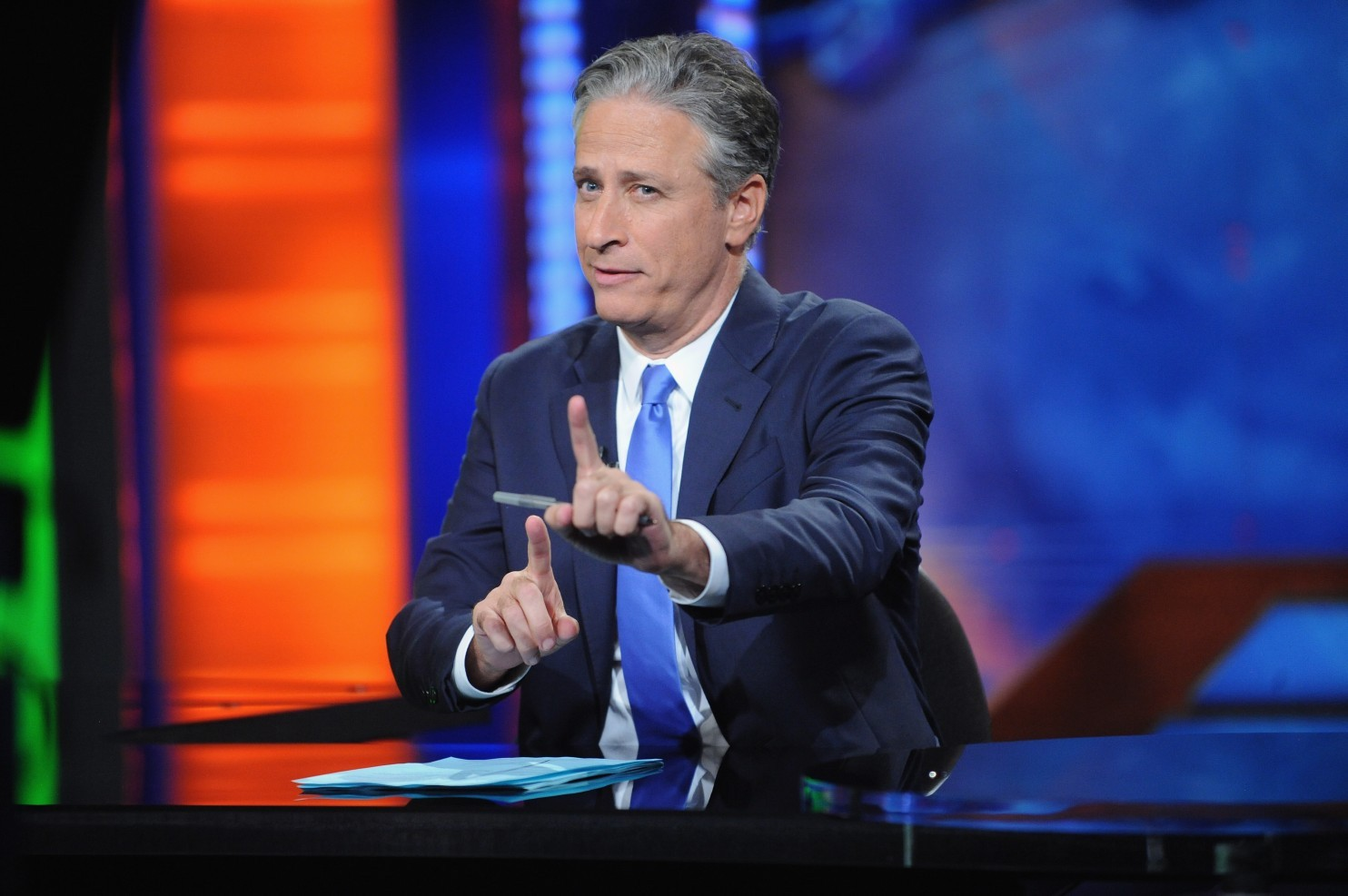 "Jon Stewart hosts ""The Daily Show with Jon Stewart"" #JonVoyage. (Brad Barket/Getty Images for Comedy Central)"