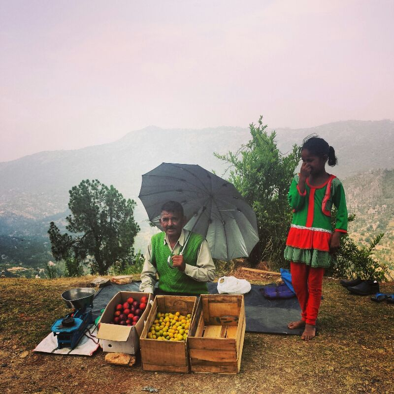 Family selling aloo bukhara and khumani
