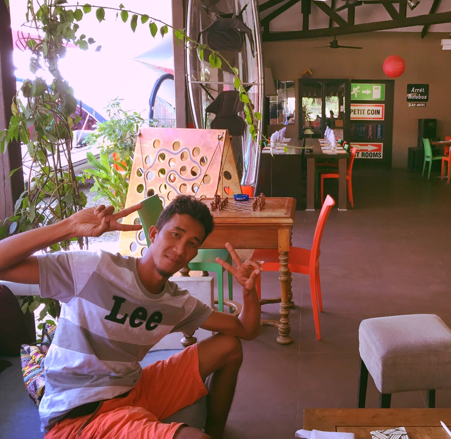 Anthony chilling at The Loft, a great café in Puerto Princesa