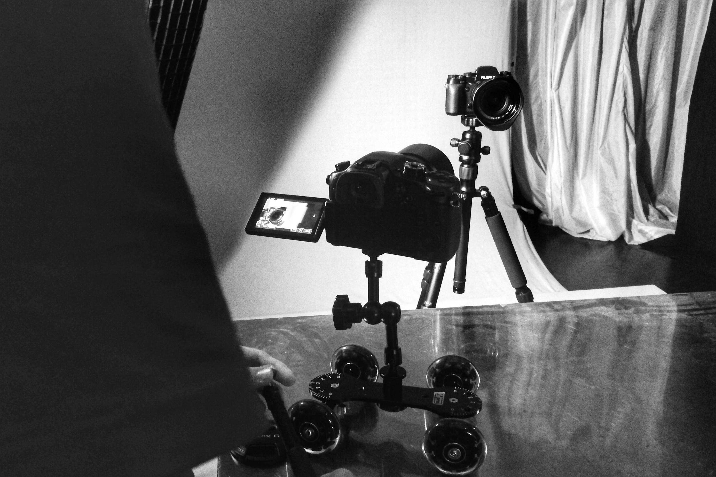 Caleb filming.