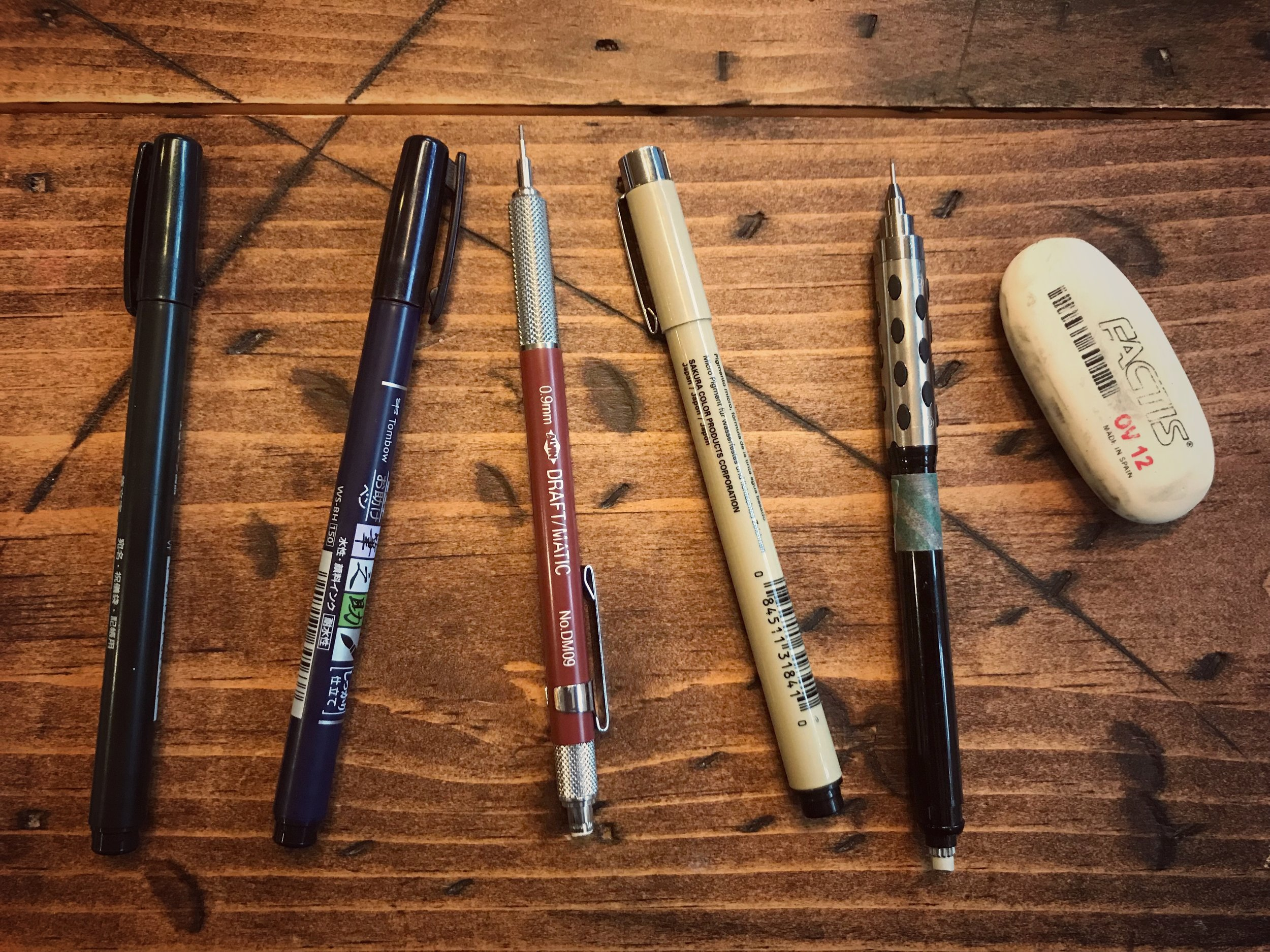 Some of my favorite go-to supplies.  Tombow brush pens ,  Draft-Matic Mechanical Pencil ,  Pigma Micron Pen ,  Pentel Mechanical Pencil ,  General's oval eraser .