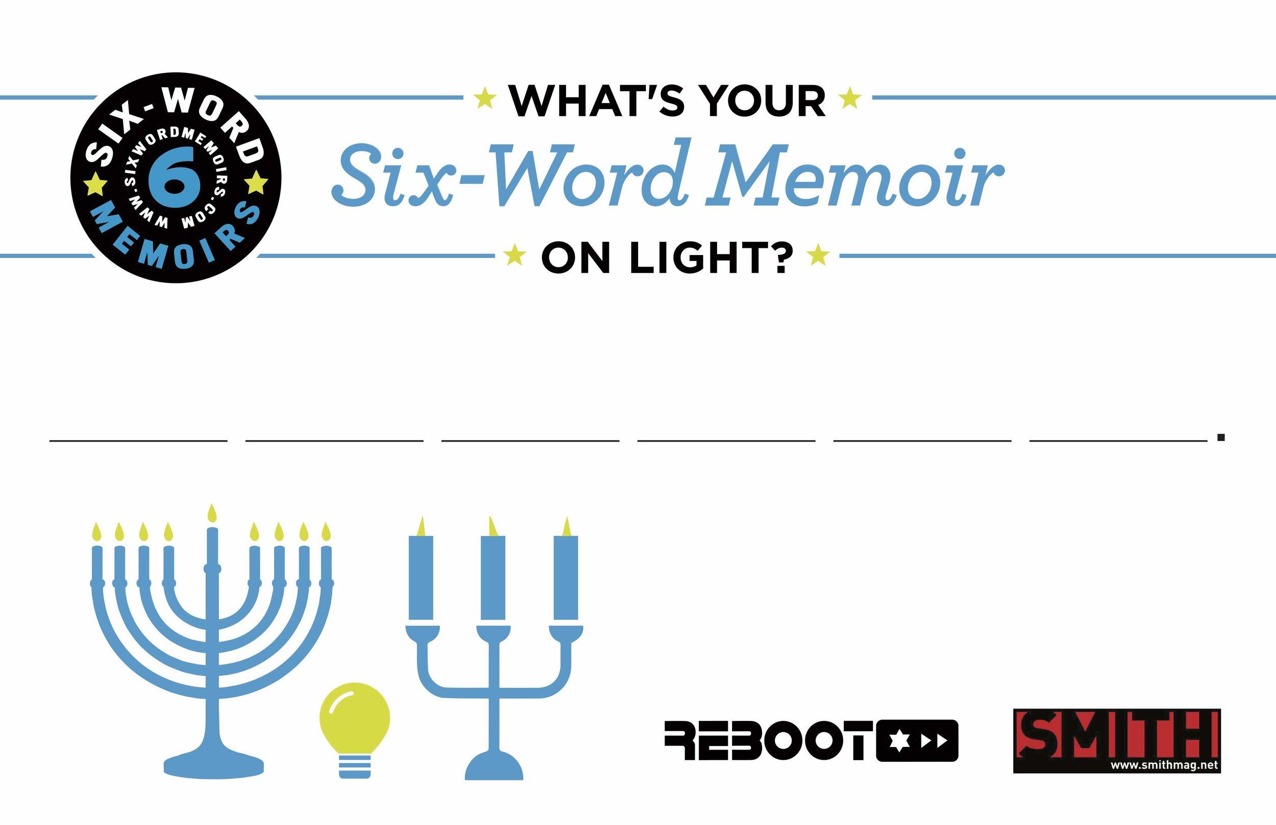 Six Word Memoir Postcard on Light.jpg
