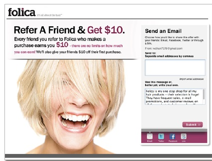 eWOM online word of mouth folica referral campaign marketing