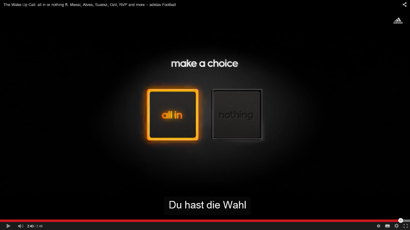 Figure 1 Make  -  a  -  choice – all in (YouTube, 2014)