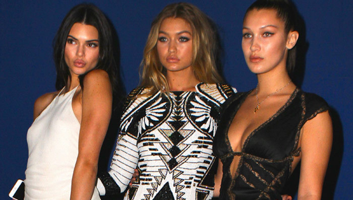 From left to right: supermodels Kendall Jenner, Gigi Hadid and Bella Hadid