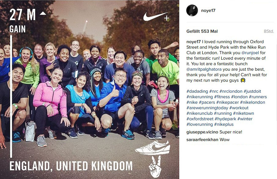 Figure 2: Instagram post from a Nike brand community run in England, Source: Instagram,