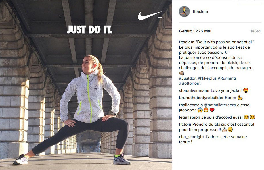 Figure 4: Instagram post of Nike brand community member during #betterforit campaign, Source: Instagram 2,