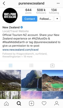 Figure 4.  Official Instagram account by  Tourism New Zealand  where they ask their followers to share their travel experiences and give them permission to re‑post (purenewzealand, 2016)
