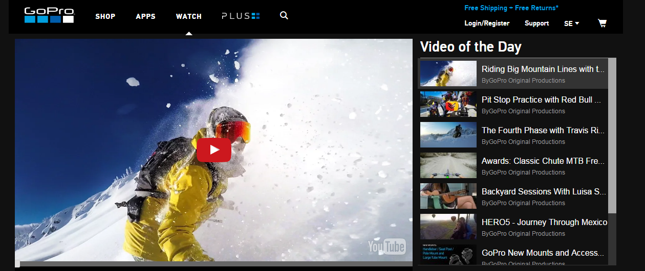 Picture 4:  Alt screenshot of GoPro Video of the day webpage. In the left side, appears a big picture with a man doing snowboarding. In the right side, small screenshots of other videos of the day.