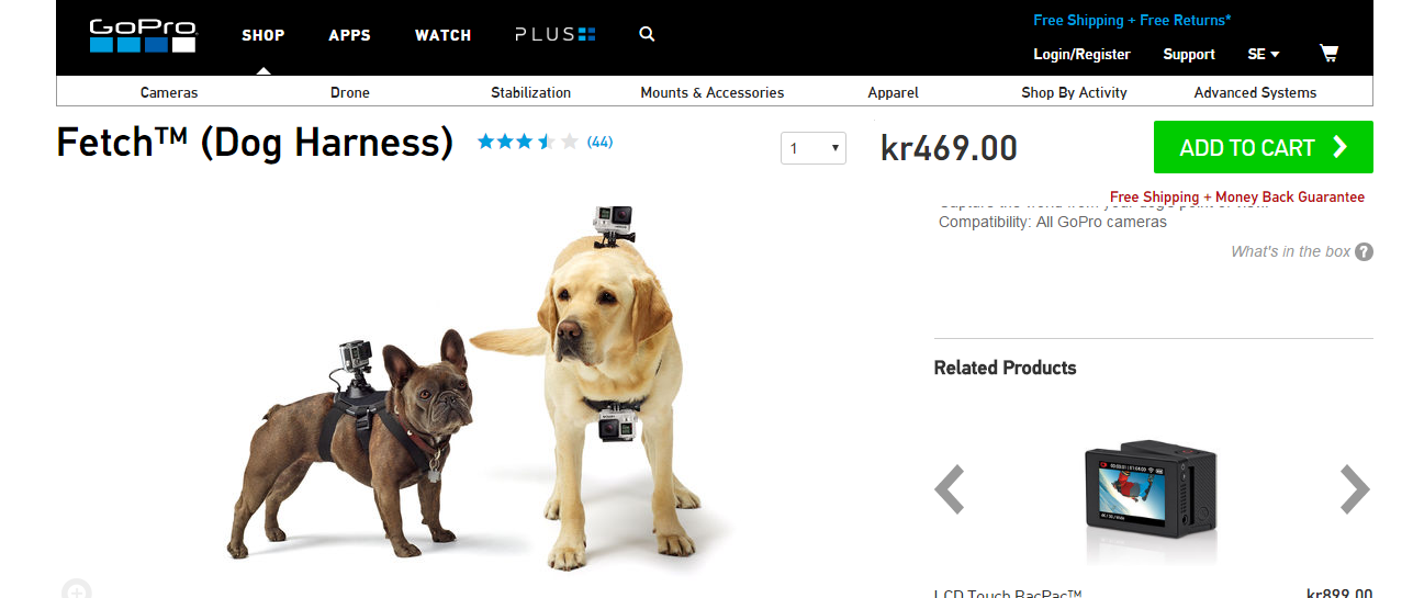 Picture 5:   Alt screenshot of the GoPro Dog Harness. Two dogs appear wearing it on their back, one looks to be a small black boxer and the other a golden retriever. The price of kr460.00 appears on the right side.