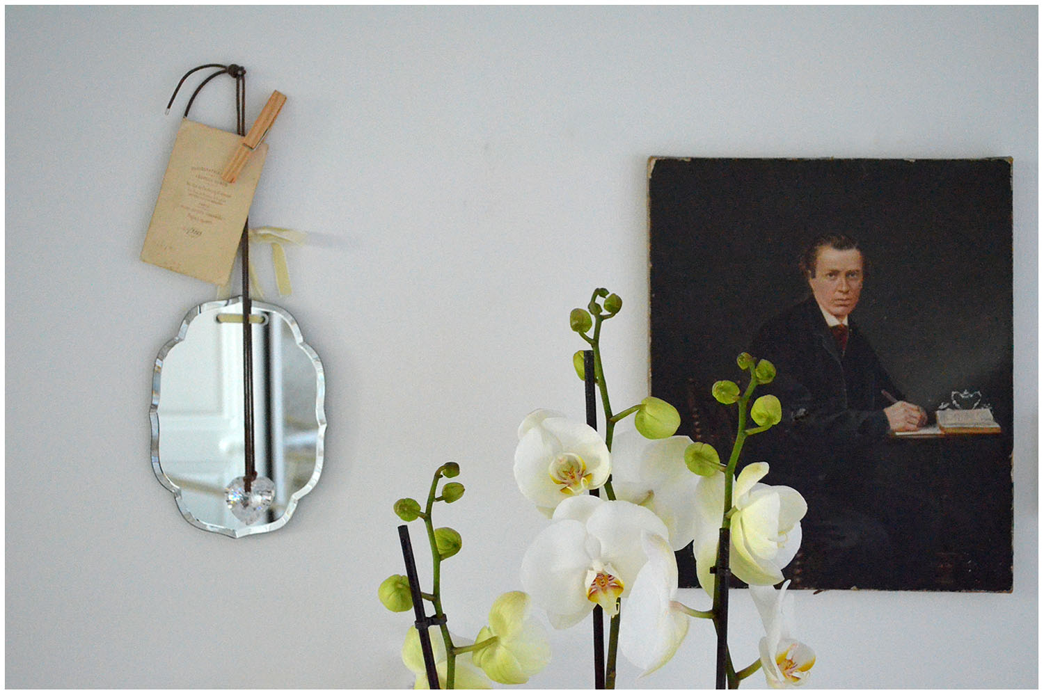 Orchid in front of oil portrait.jpg