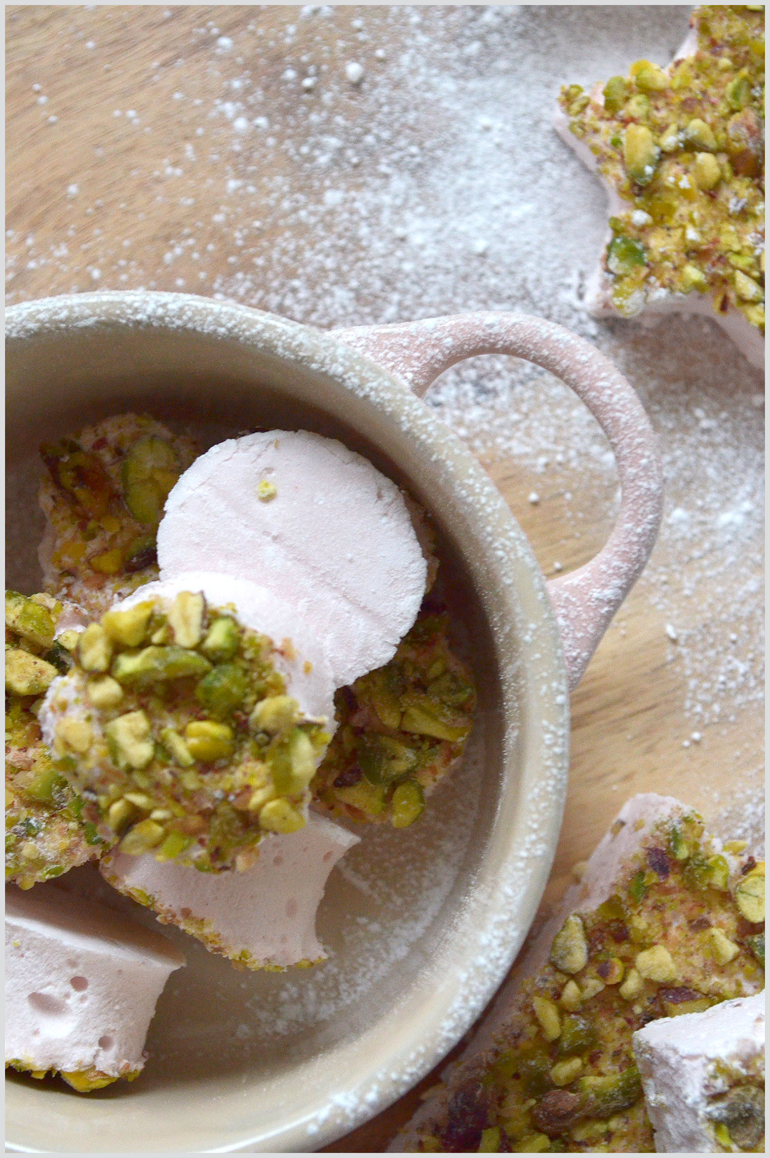 Homemade rose and pistachio marshmallows