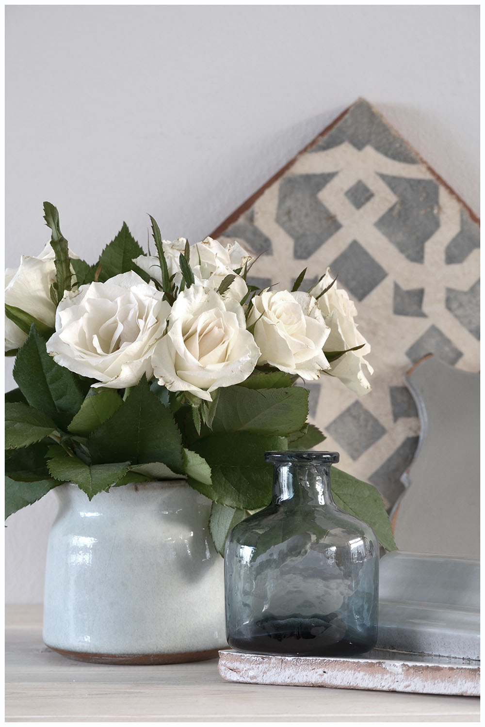 White roses and moroccan tile