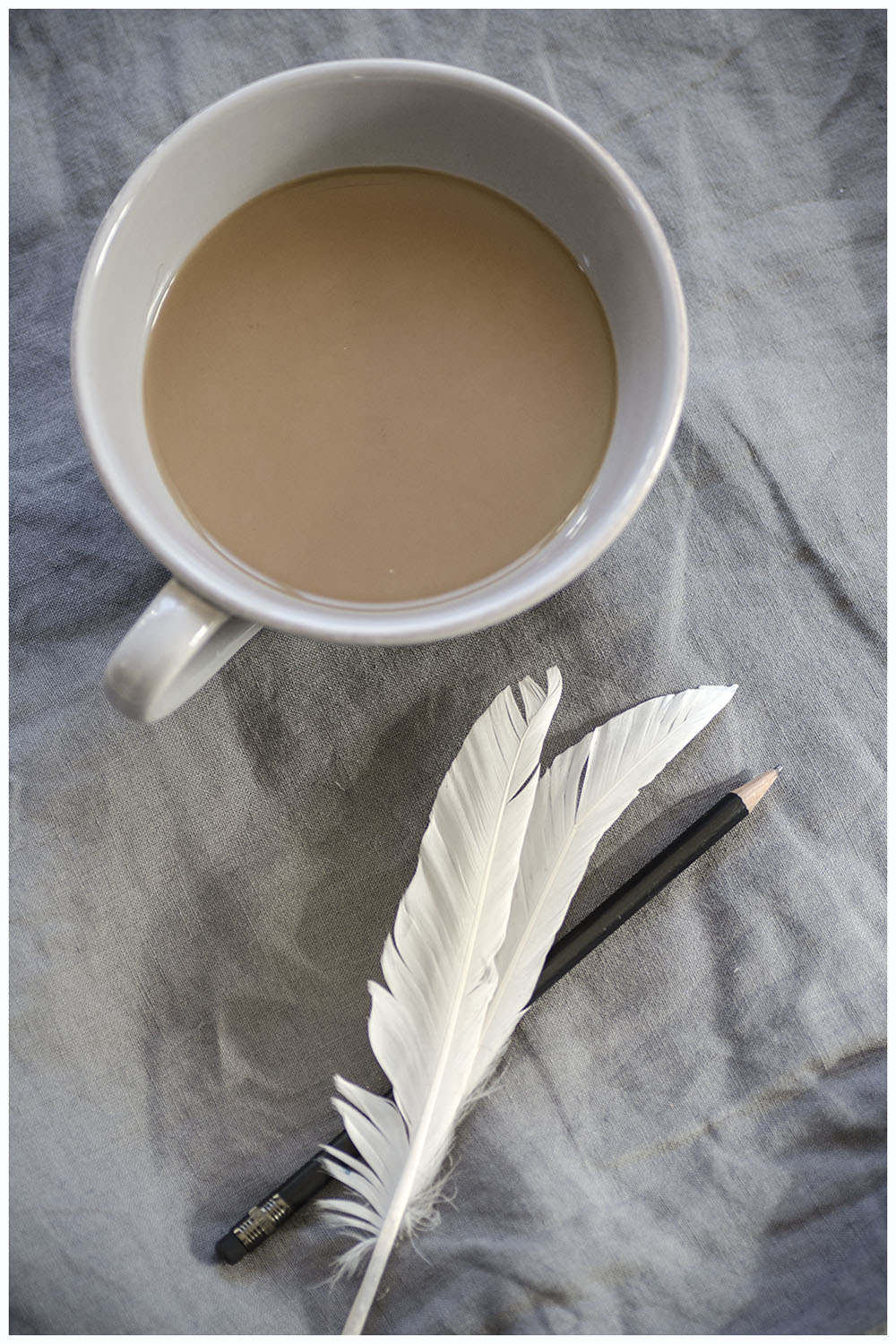 Coffee, feathers & pencil