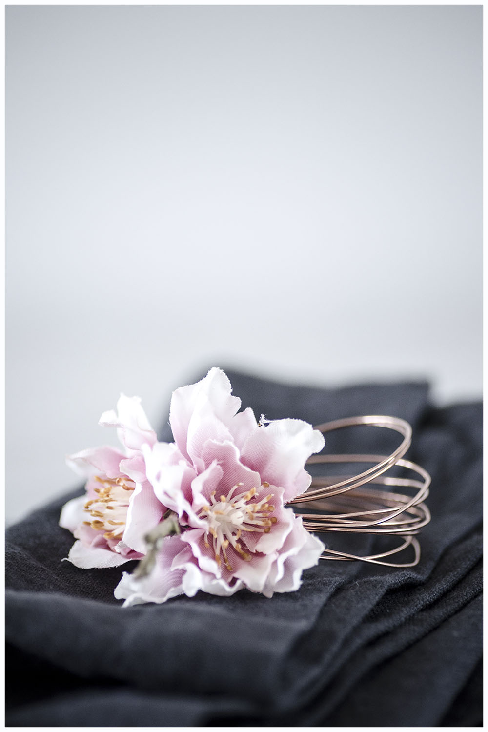 copper wire and fabric blossom napkin ring