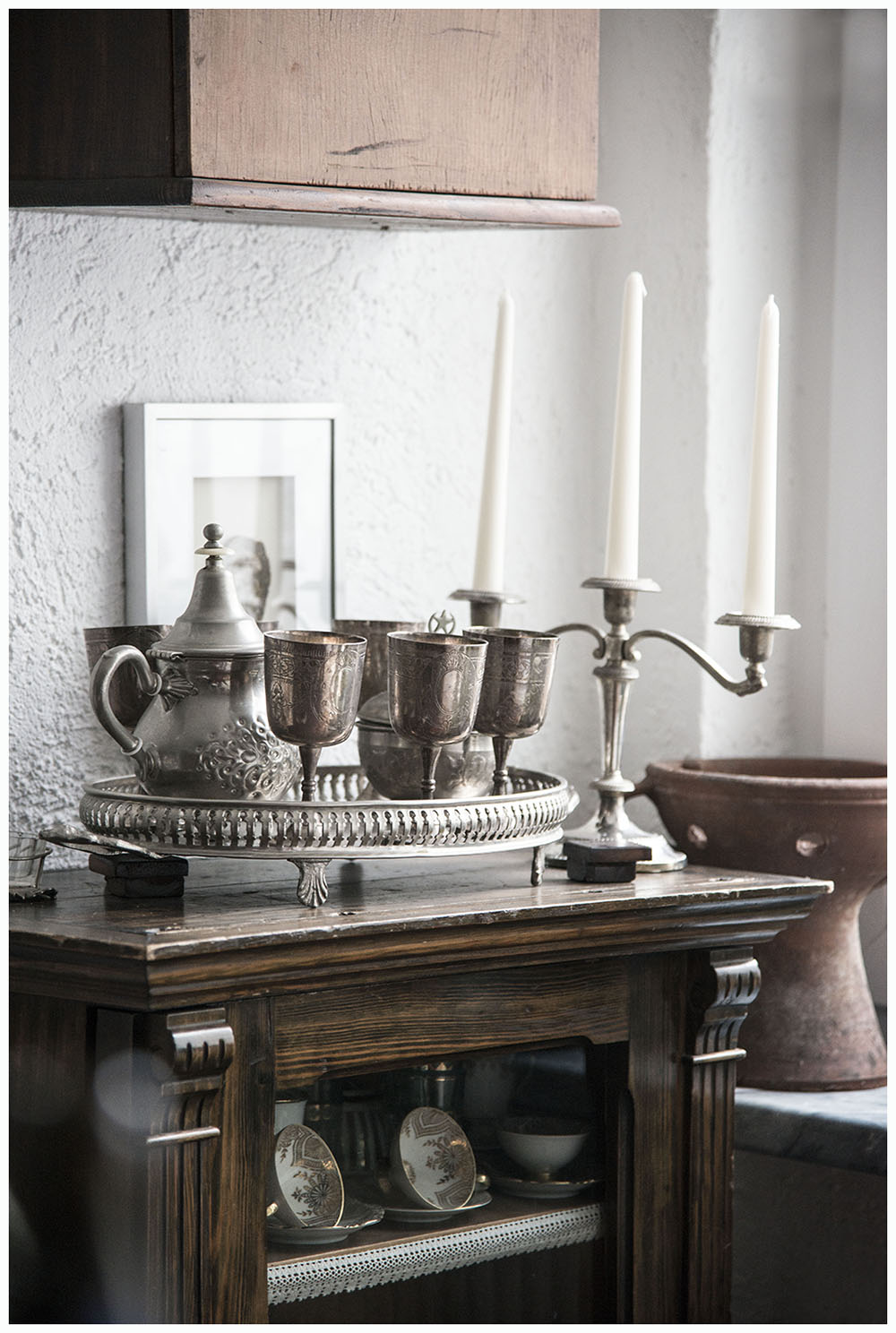silver tray, tea pot and goblets