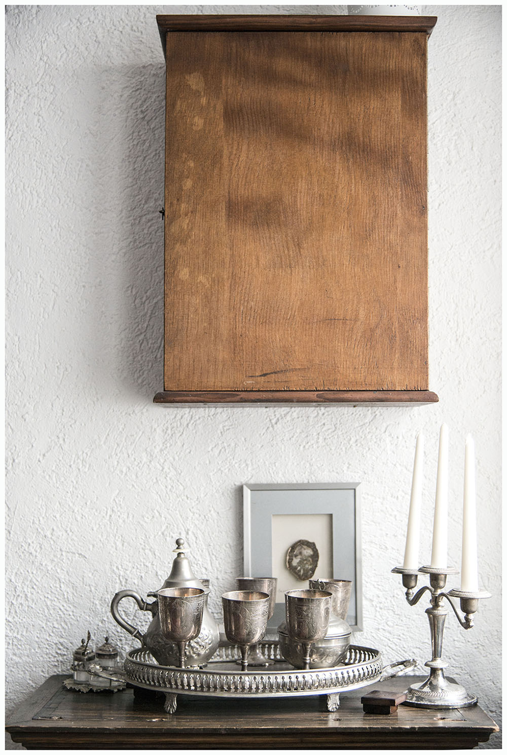 silver tray and goblets