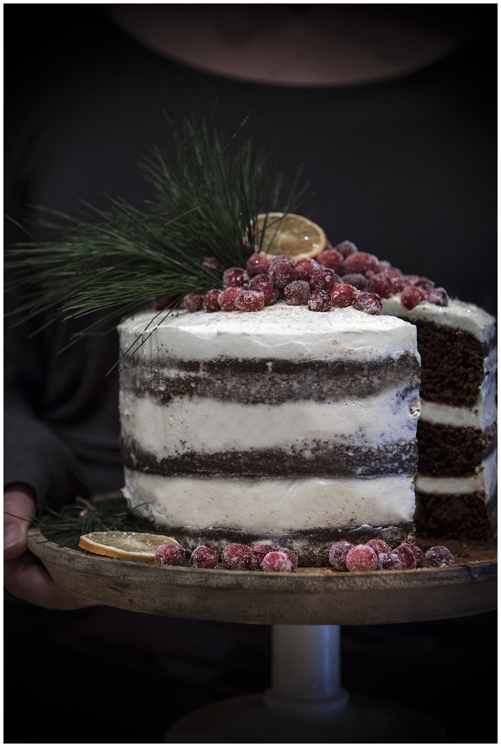 Spiced chocolate & rum cake with cranberries