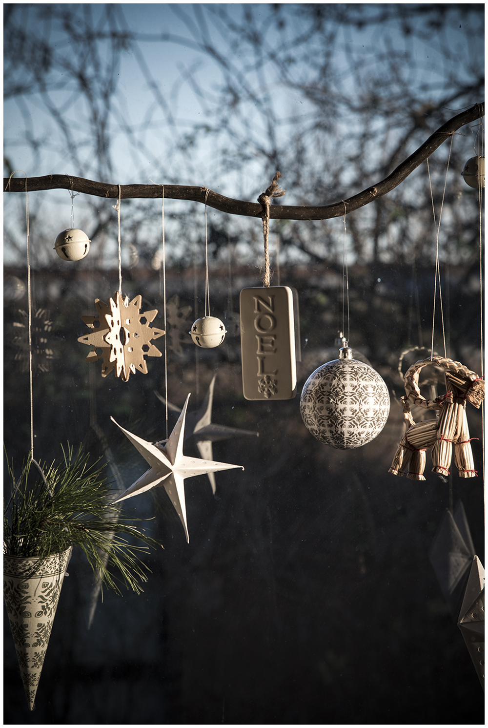 Christmas decorations and winter sunshine