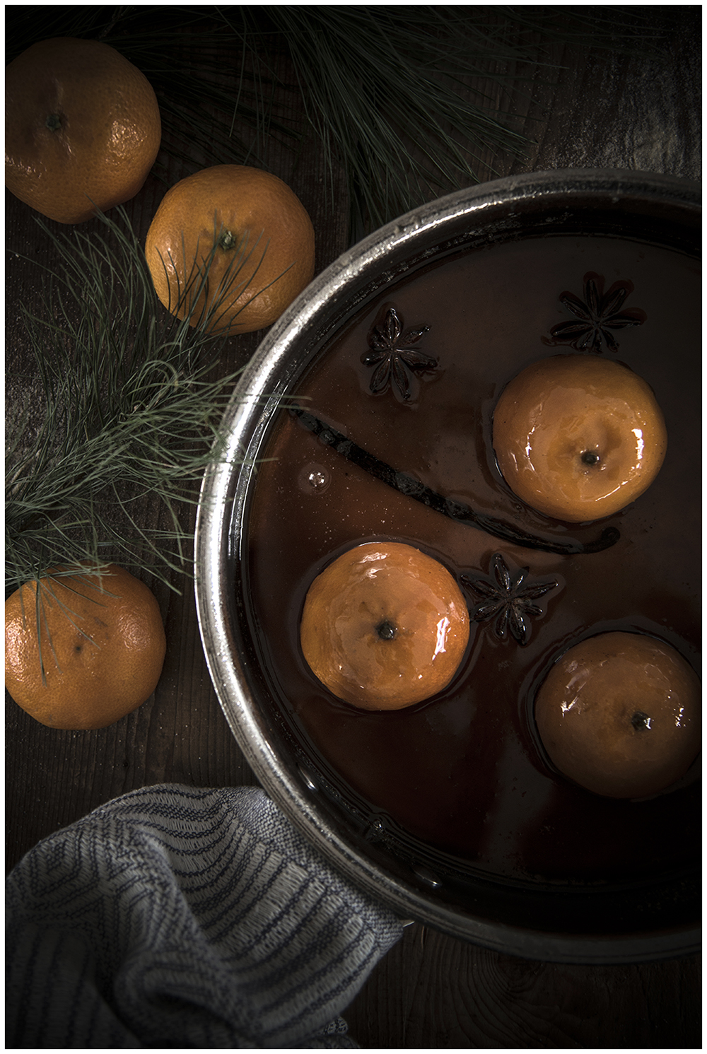 Whole Candied Clementines with Star Anise and Vanilla