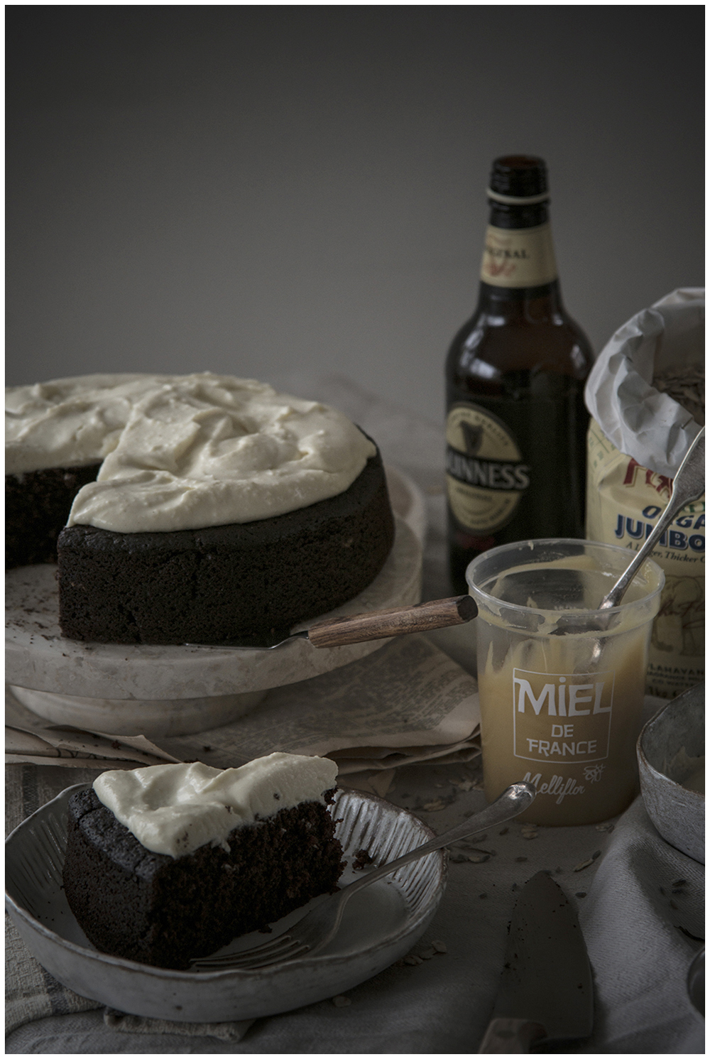 Chocolate & Guinness Oat Cake with Lavender Frosting