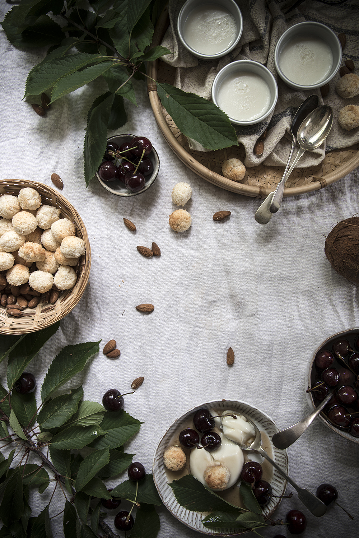 Coconut-almond panna cotta with amaretto cherries