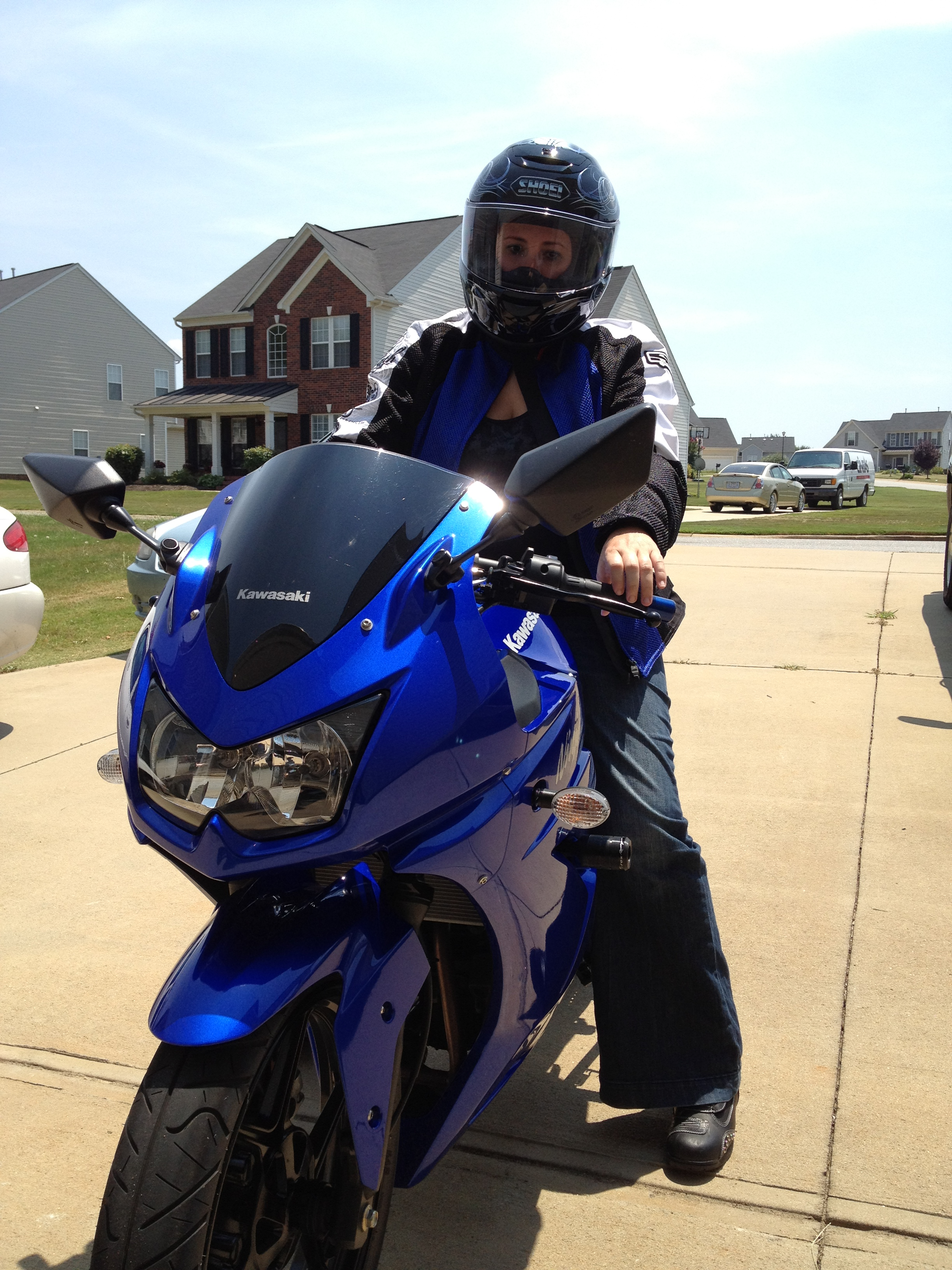 My wife, geared up to learn how to ride.