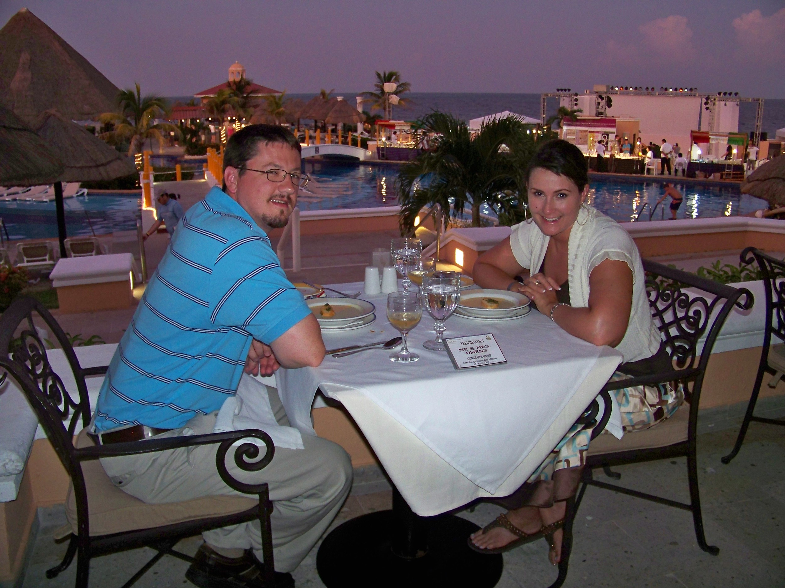 Beach Front Dinner in Cancun, Mexico