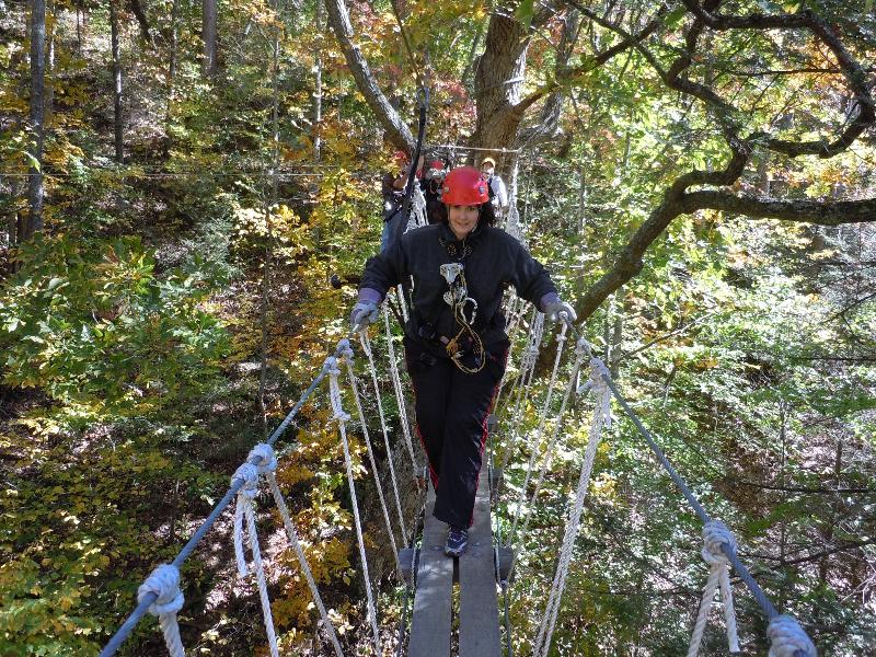 Shannon on the rope bridge