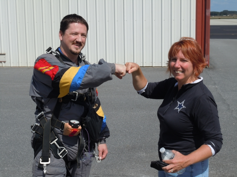 Me and Christine after skydiving.