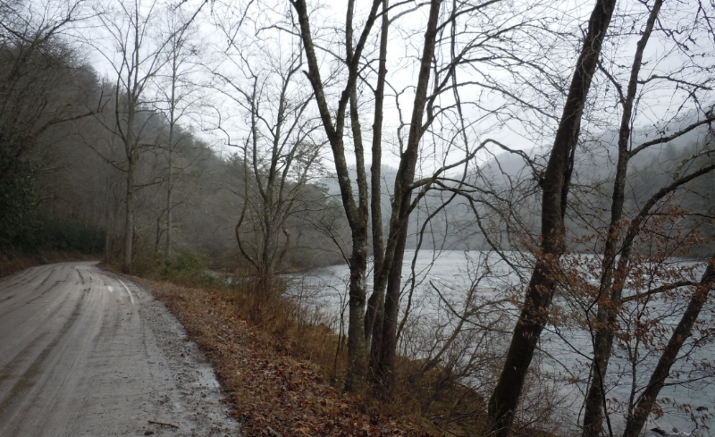 A foggy and muddy motorcycle ride.