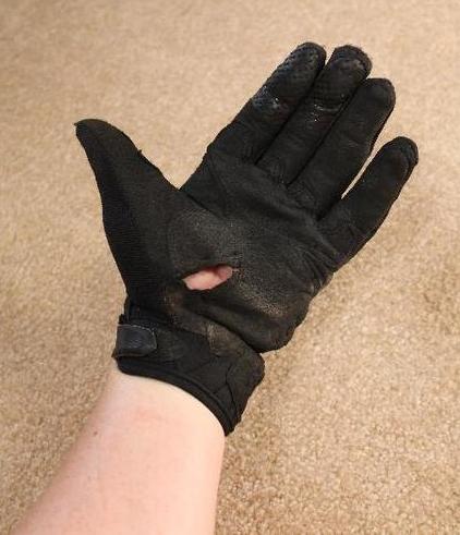 Fox Bomber Gloves after a gravel slide