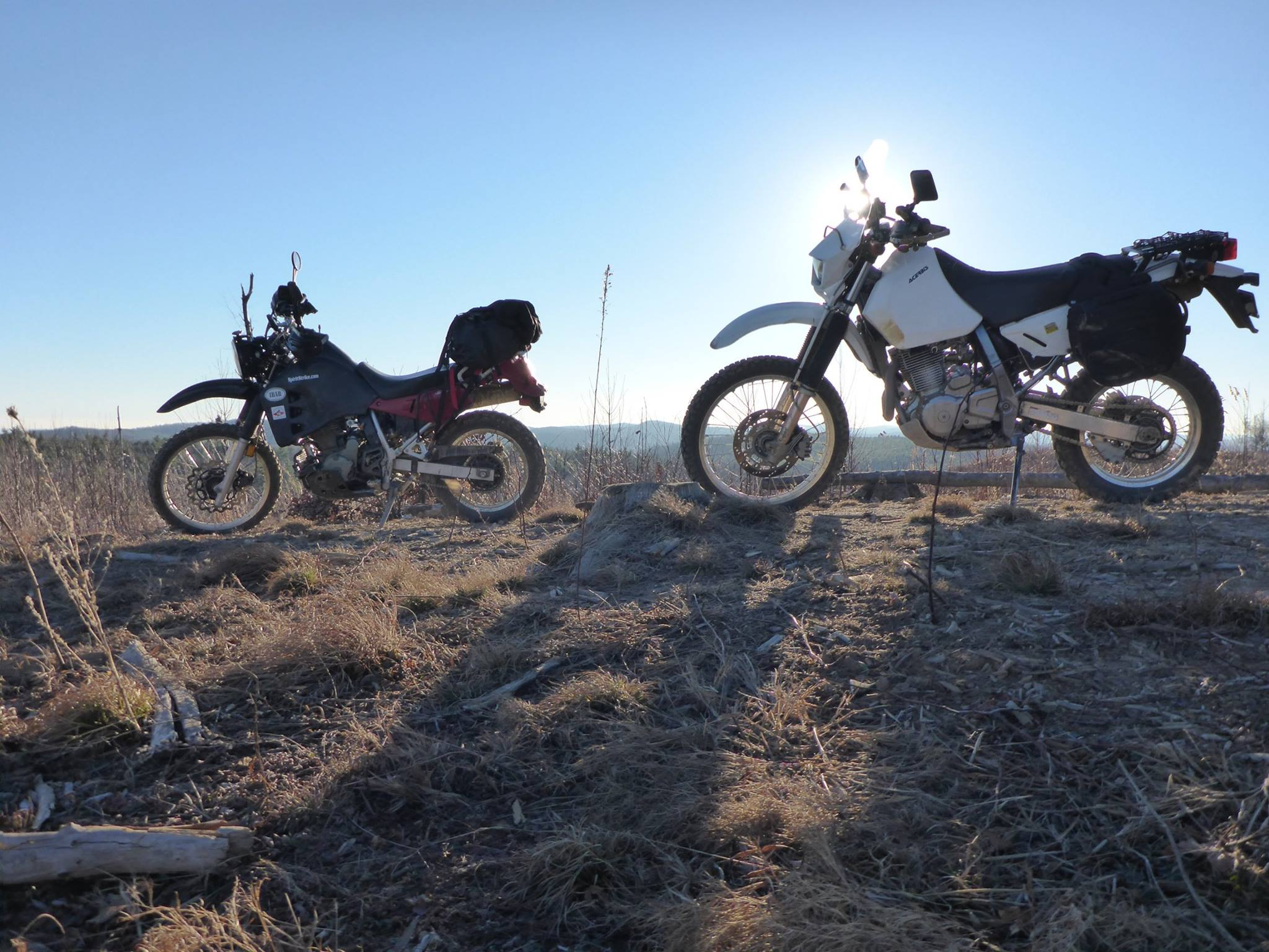 Thanks to our own Adam Owens for this picture of a DR rider waiting on a KLR rider to catch up.