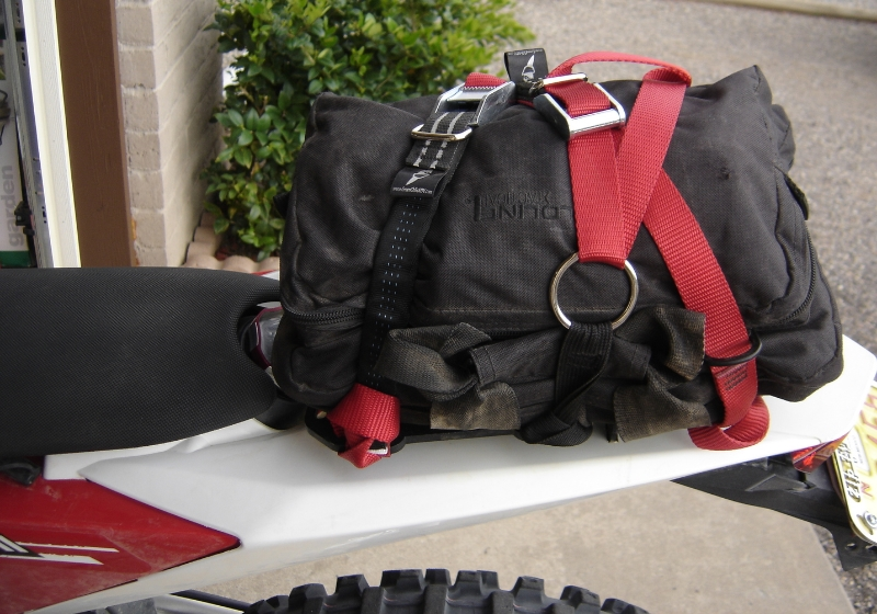 Trail Pack On a Husky TE511 Held On By GCAG Mondo Straps
